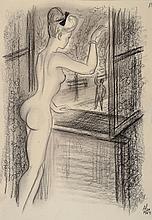 Alexander Szekely, 1901-1940, chalk drawing,