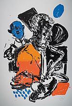 Markus Lüpertz, born 1941, color screen print