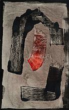 Imre Bak, born 1939, monotype, abstract composition,