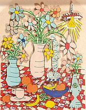 James Rizzi, 1950-2011, 3D lithography, Table Life,