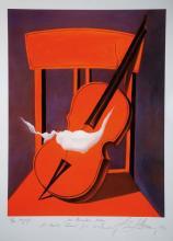 Dorel Dobocan, German artist, Red Violin, Serigraph