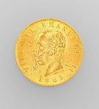 Gold coin, 20 Lire, Italy, 1865