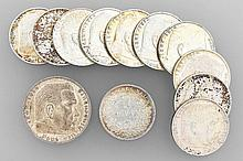 Lot 11 silver coins, Reichsmark, Germany, 1938-1939