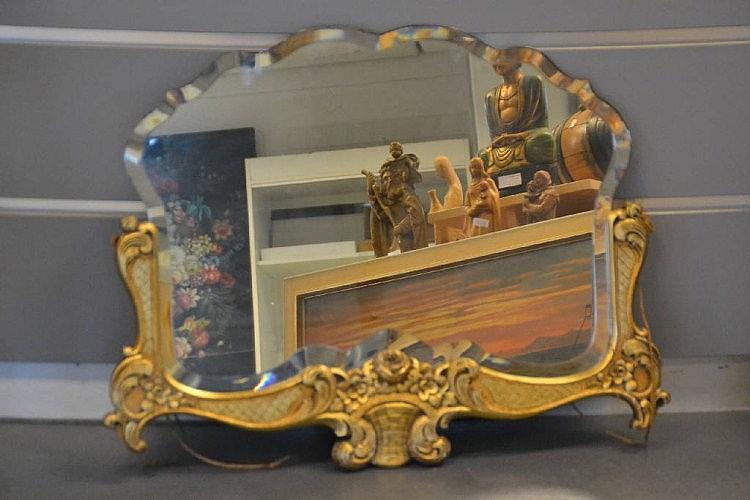 Wandspiegel, um 1900, Holzrahmen gestuckt und