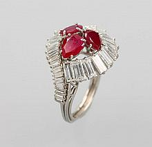 Platinum ring with rubies and diamonds