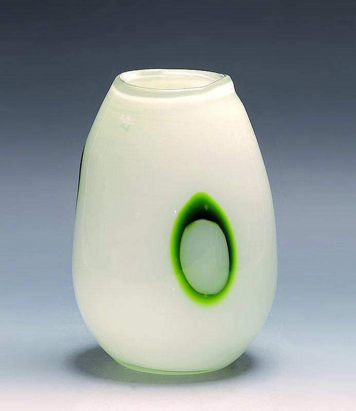 Vase, Murano, 70/80er J., farbl., Glas,