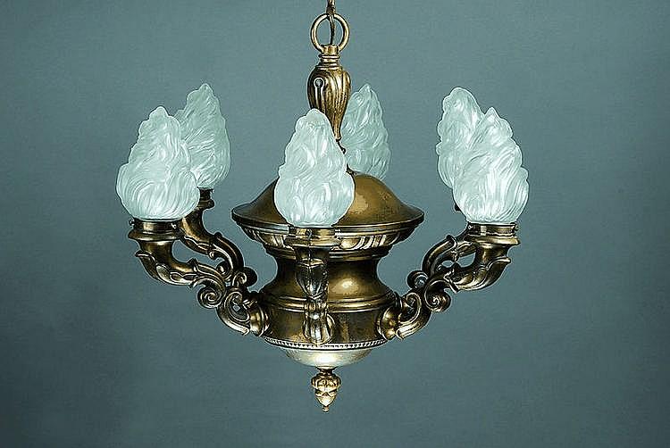 Deckenlampe, deutsch, um 1920, Messing, sechs