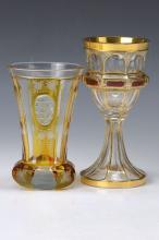 Two glasses, Bohemia, to 1910 and 1930-40s