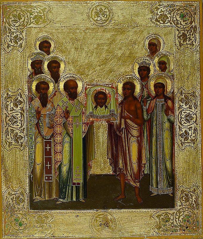 Ikone, Rußland, um 1890/1900, 10 Heilige mit