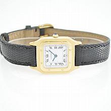 CARTIER 18k yellow gold ladies wristwatch series Santos