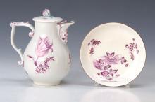 Cover pot and bowl, Meissen, 1750, Camaieumalerei