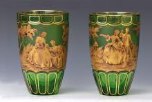 Pair of heavy crystal vases, Bohemia, 1920s