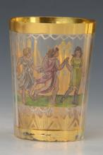 gold cup, Bohemia 19th C., dancing woman