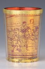 goldglas, Bohemia, 19th C., Red interior glass