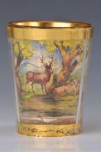glass cup, Bohemia, 19th C., circular hunting scene