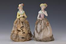 Two half dolls, German, circa 1900, ladys with flowers
