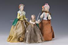 Three half dolls, 1900, girl and two ladies with roses