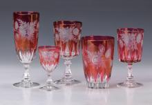 Extensive glass service, Bohemia, 2nd half 20th C.,