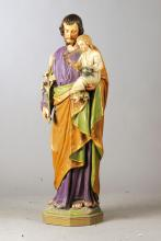 Saint with Christ Child and branch of lilies, German, 19th C.