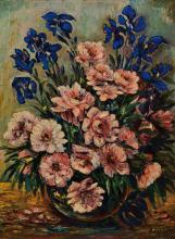 A. Lutz, contemporary artist, floral still life, oil / masonite