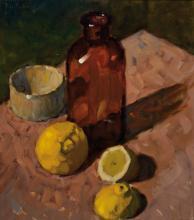 T. Robain, French painter, still life, oil / masonite