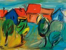 Hartmut Ritzerfeld, born 1950, acrylic on canvas, landscape,