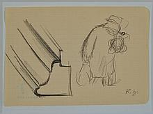 Karl Hubbuch, 1891-1979, pencil drawing, estate stamp,