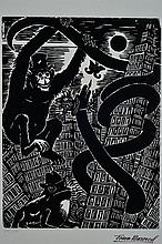 Frans Masereel, 1889-1972, woodcut, stamp signature,