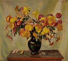 Hermann Croissant, 1897-1963, flower still life, oil / masonite,