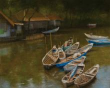 S. Sorentoro, river landscape with boats, pastel drawing,