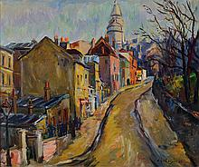 Fritz Meijer, 1900-1969, oil / on canvas, village view,