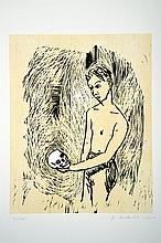 Stephan Balkenhol, born in 1957, hand colored woodcut,