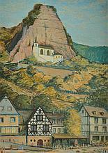 Charles White, 1928-1997, village view, oil / cardboard
