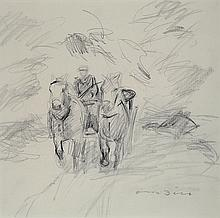 Otto Dill, 1884-1957, horse and cart, pencil drawing,