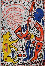 A.R. Penck, born 1939 in Dresden, color screen print,