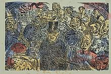 James Ensor, 1860-1949, Masques Intrigues, color etching,