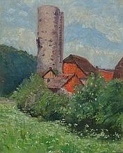 Adolf Lins, 1856 Kassel 1927 Dusseldorf, view of a tower