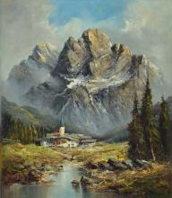 H. Hartung, church valley at a small lake