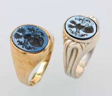 Lot 2 signet rings with layer stones