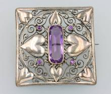 Silber brooch with amethyst, german ca.1895/1900