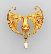14 kt Gold At Noveau Brooch german 1880/1900
