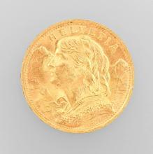 Gold coin, 20 Swiss Francs, Switzerland, 1935