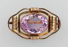 Silver brooch with amethyst, ca. 1930s