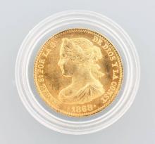 Gold coin, 10 Pesetas, Spain, 1868, Isabel II.