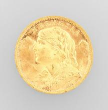 Gold coin, 20 Swiss Francs, Switzerland 1935