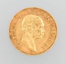 Gold coin, 10 Mark, Germany, 1906, Friedrich August King of Saxony