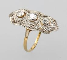 14 kt Gold and platinum Art-Deco-ring with diamonds
