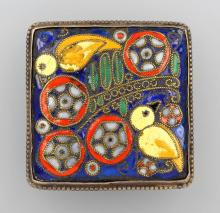 Silver Brooch with enamel, german 1950/55`s