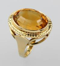 14 kt Gold ring with citrine, german ca. 1930/40s,