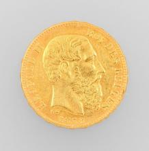 Gold coin, 20 Francs, Belgium 1878, Leopold II